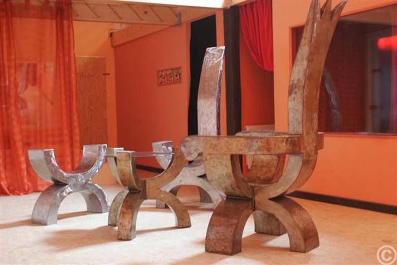 Sessel Stuhl Glastisch